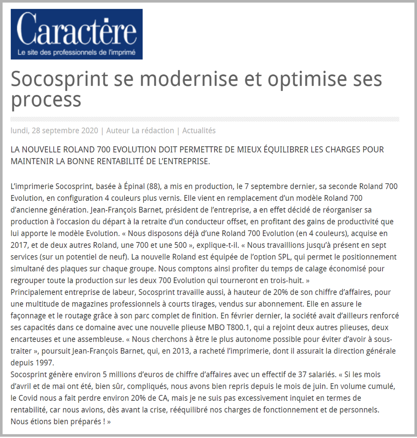 Article Socosprint Caractère
